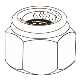 CHEMITOOL Non-Metallic Nylon Self-locking Hex Nut  DIN 985 M4 8 White Zinc Plated